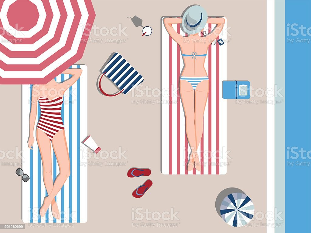 sunbathing vector art illustration