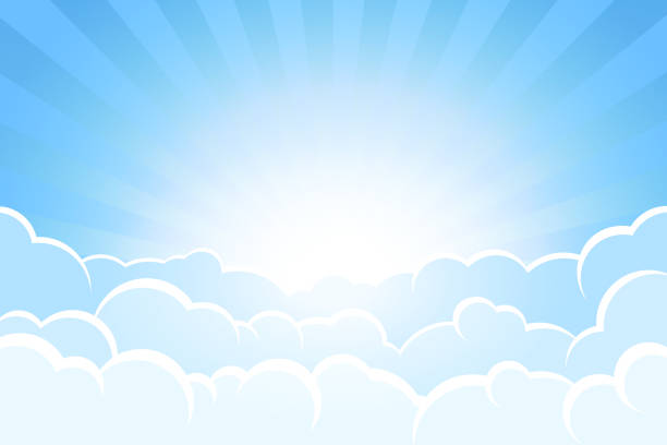 Sunbeams and sky behind clouds vector art illustration
