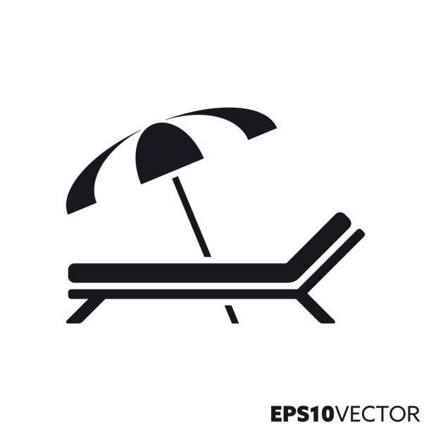 illustrations, cliparts, dessins animés et icônes de icône de glyphe de glyph de parit de soleil et de parapluie de plage - transat