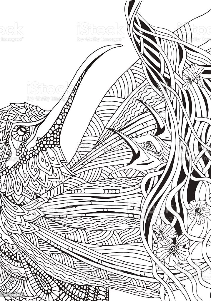 Artistic Bird And Nest With Chicks Coloring Book Page Royalty Free Sunbird