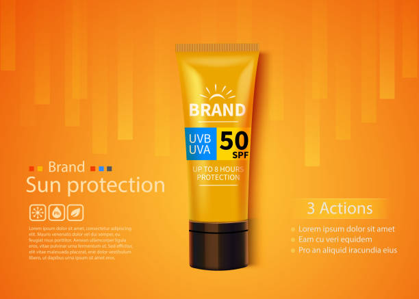 sunblock ads template, sun protection cosmetic products design with moisturizer cream or liquid. - sun cream stock illustrations