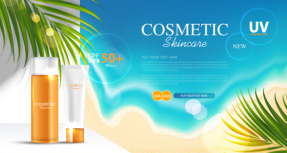 Sunblock ads template, sun protection cosmetic products design with moisturizer cream or liquid, sunshine and the beach background, vector design