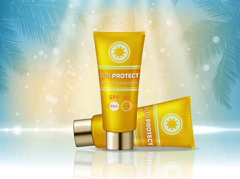 Sunblock cosmetic products ad. Vector 3d illustration. Sunblock cream bottle template, sun protection cosmetic products design. Sunscreen face and body lotion with SPF and UV protection