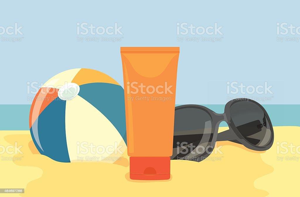 Sunblock Cream display on the beach vector art illustration