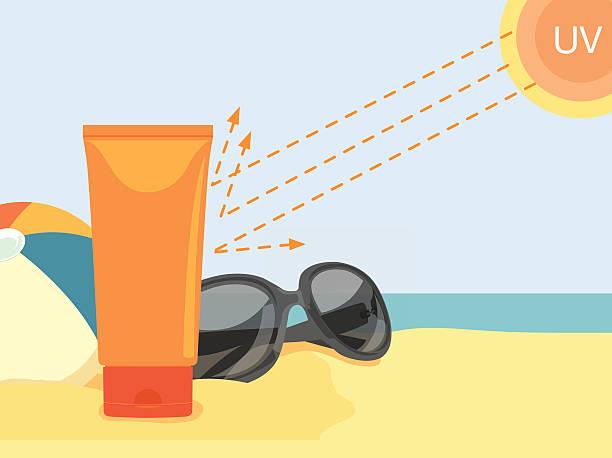 ilustrações de stock, clip art, desenhos animados e ícones de apresentar creme reflectir uv - protetor solar