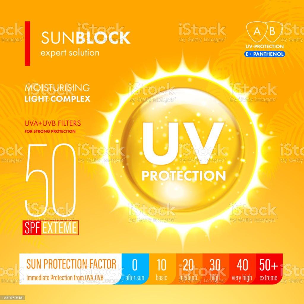 Sunblock suncare strong protection. SPF solution design vector art illustration