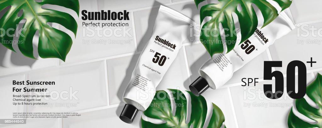 Annonces de tube de crème solaire - clipart vectoriel de Crème sucrée libre de droits
