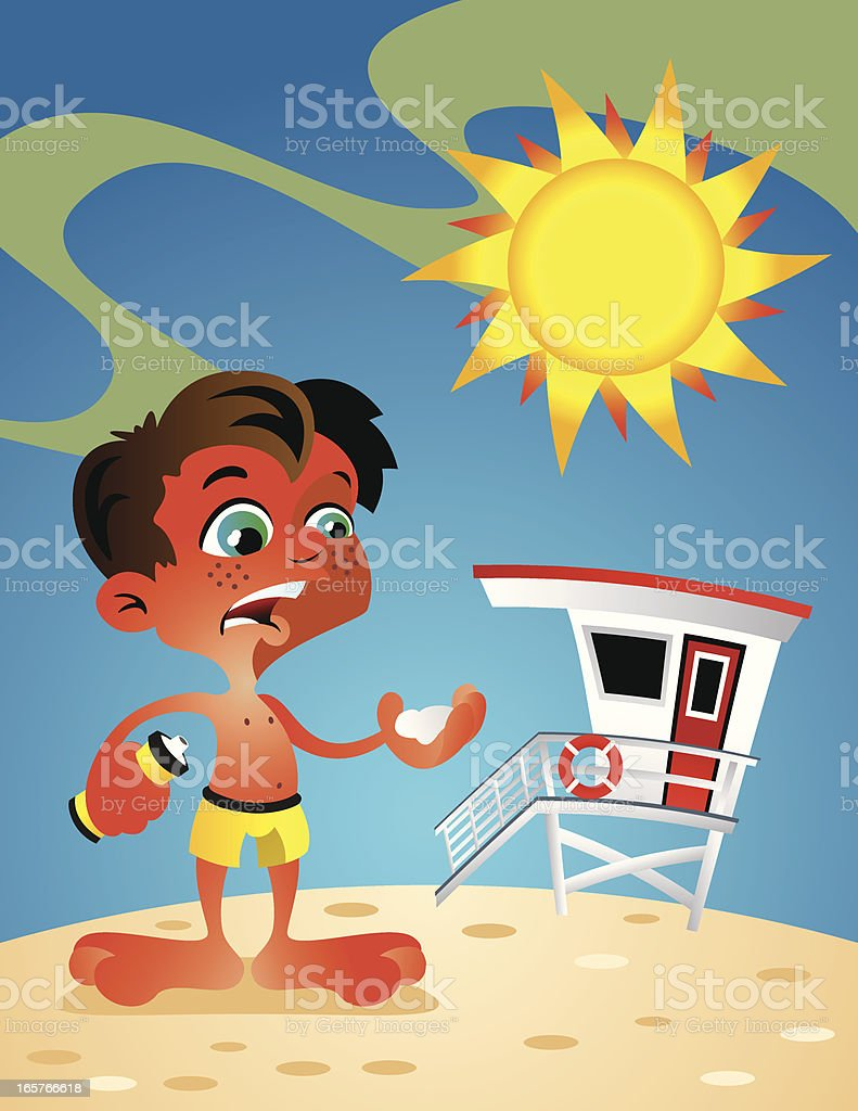 Sunburn Boy vector art illustration