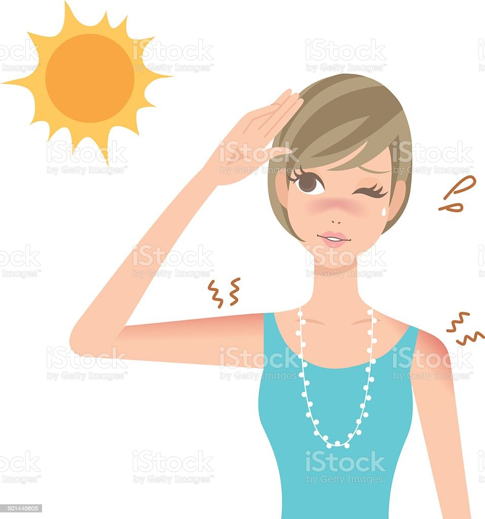 UV sunburn illustration for women vector art illustration