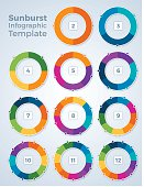 Sunburst or donut pie chart graphic spinner infographic template concept with space for your copy. EPS 10 file. Transparency effects used on highlight elements.