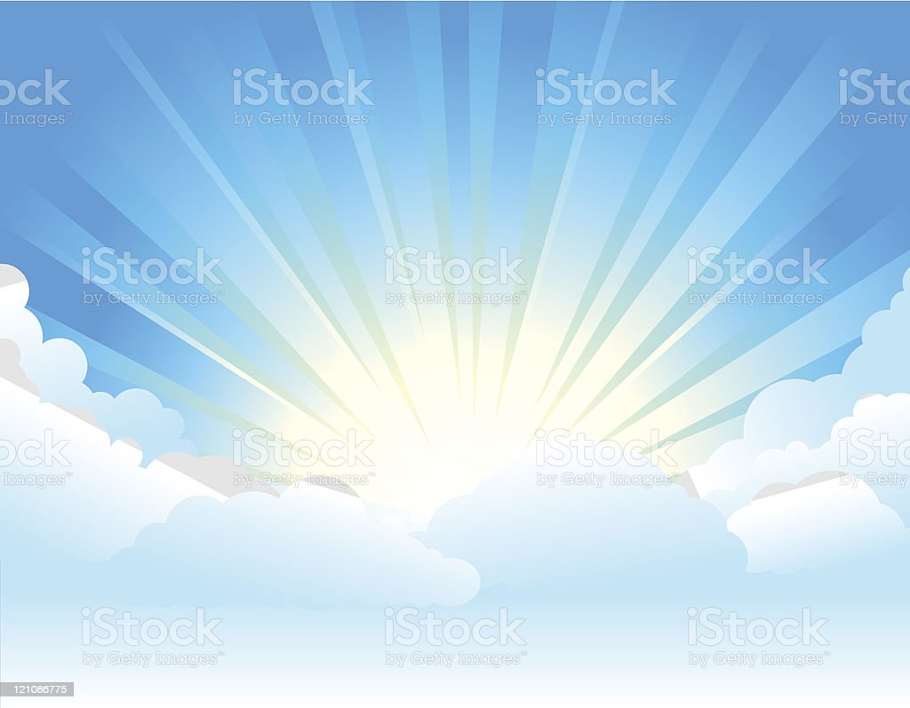 Sunburst & Clouds royalty-free stock vector art