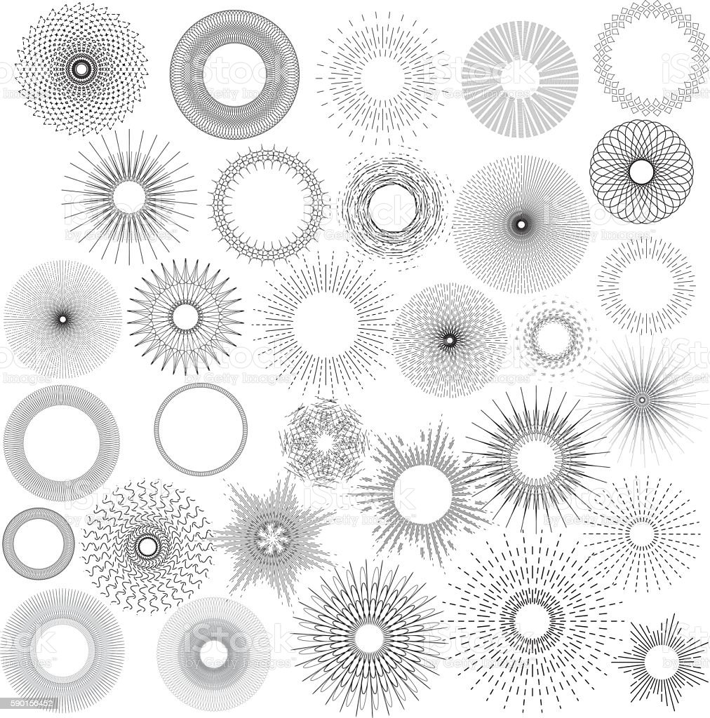 Sunburst collection vector art illustration