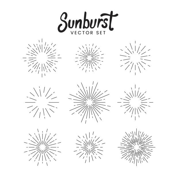 Sunburst design set Sunburst vector set on white exploding stock illustrations