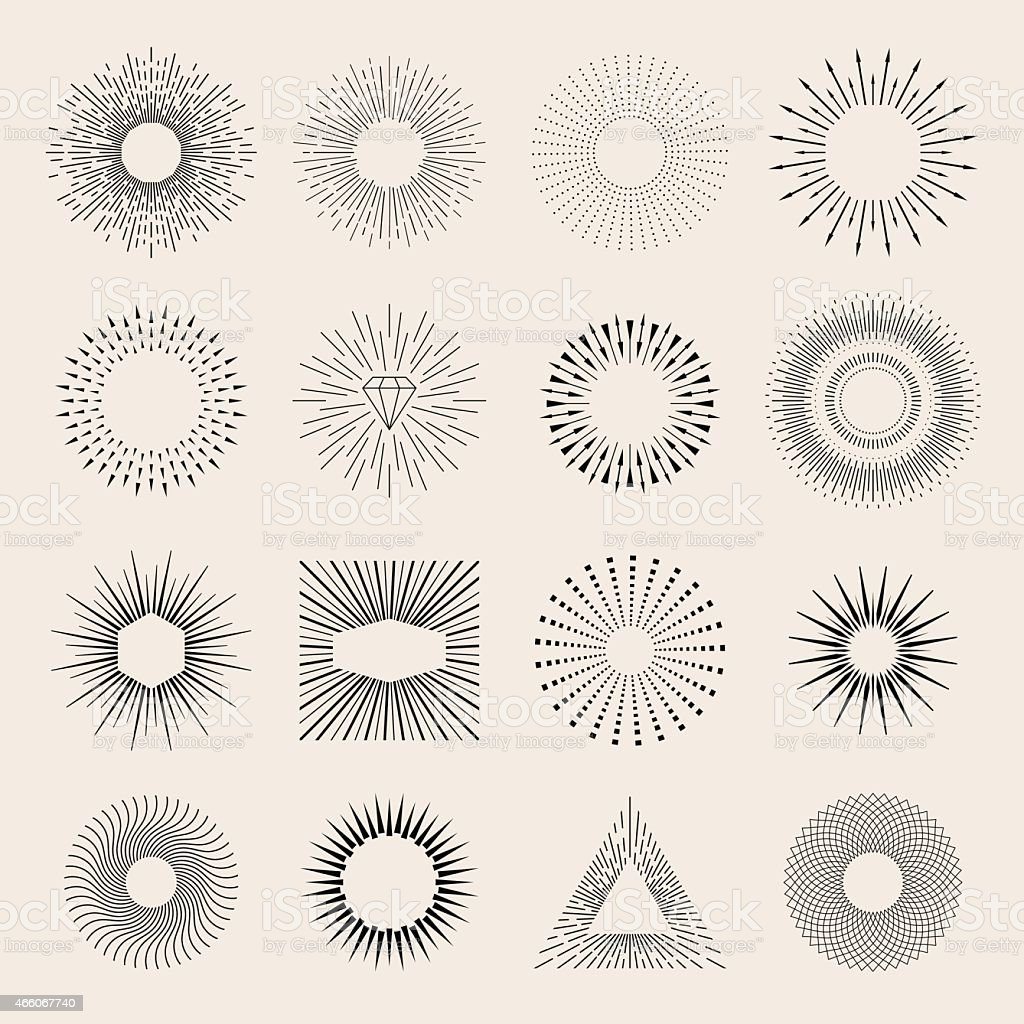 Sunburst elements vector art illustration