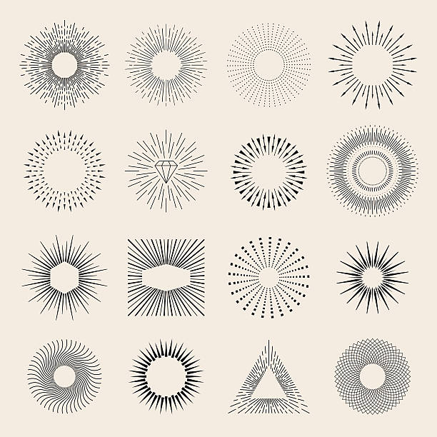 Sunburst elements Easily editable flat vector illustration with layers. fireworks illustrations stock illustrations