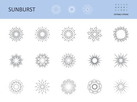 Sunburst icons. Vector symbols sun with rays. Editable stroke. Circular logo with radial lines. Sunrise, starburst abstract design elements. Shining lines on the horizon.