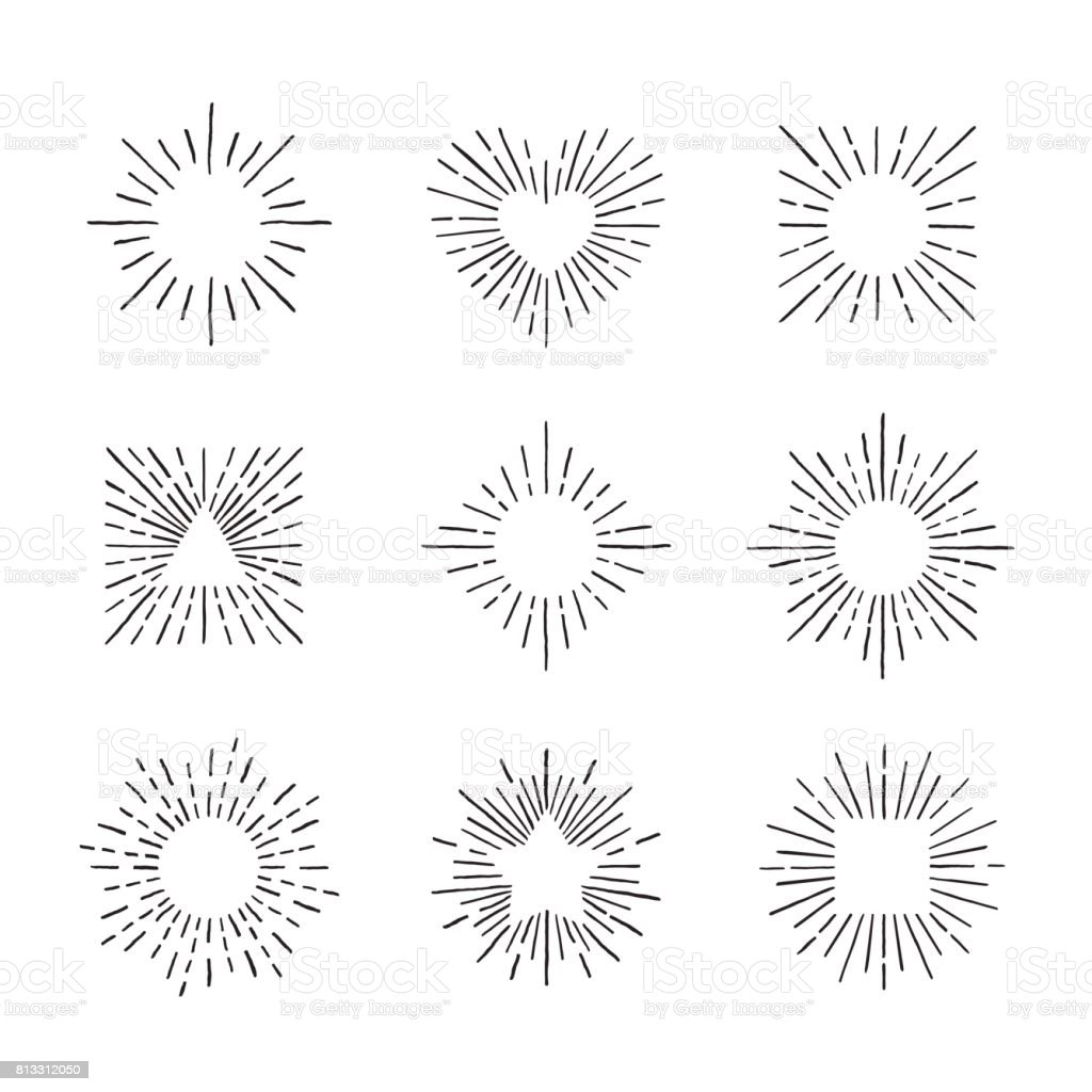 Sunburst ink hand drawn vector set. Part one. vector art illustration
