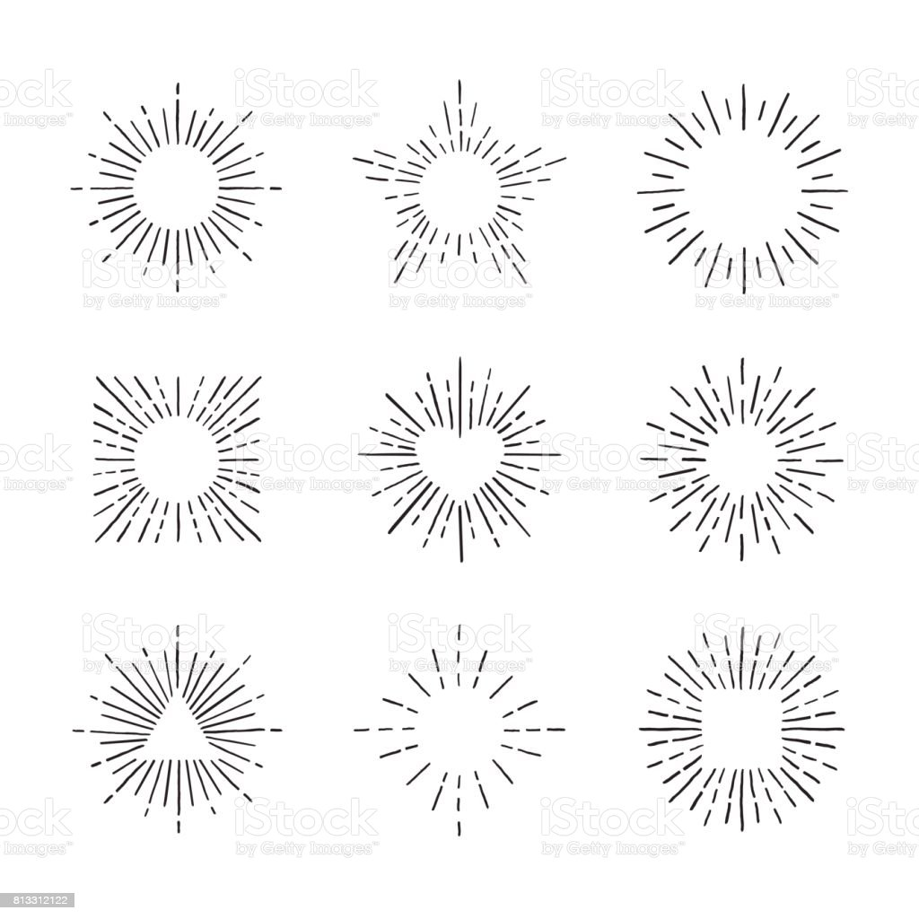 Sunburst ink hand drawn vector set. Part three. vector art illustration