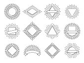 Sunburst labels. Retro sun rays logos. Vintage sunburst heraldic sunrise emblem with circle lines frame or starburst sunshine firework ray icon. Sun burst spark vector logo line isolated symbol set