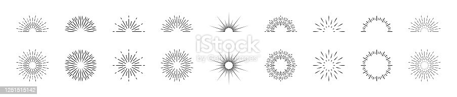 istock Sunburst lines. Circle, half circle of burst sun. Sparks and rays of stars. Retro elements of sunshine. Icons of sunset or sunrise. Radial vintage wreath for creative frame and abstract badge. Vector 1251515142