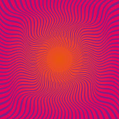 Intense Strong Colours Vector Illustration of a Sunburst Rays Retro Style