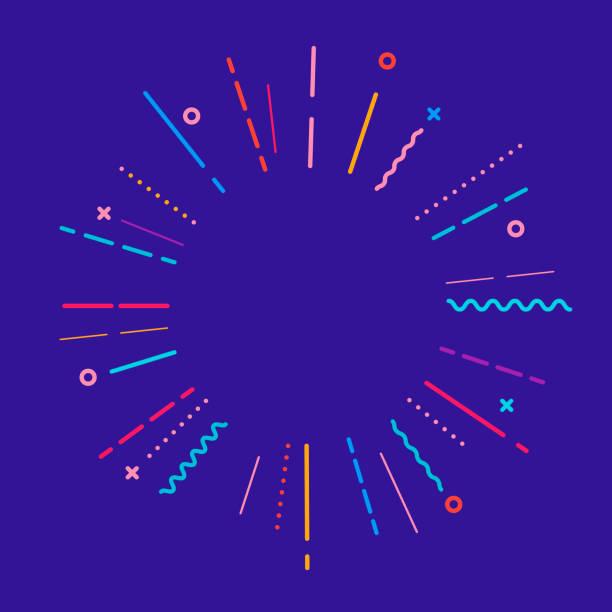 Sonnenbrand rund um schwarze Linie. Glänzende Wirkung mit Sternen. Abstrakte Form. Leere Vorlage. Retro platzende Strahlen. Dekorationselement. Weißer Hintergrund. abgeschnitten. Flaches Design. Vektorabbildung – Vektorgrafik