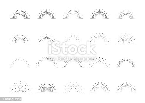 Sunburst set. Big collection sunburst best quality. Star, firework explosion, logo, emblem, tag. Web banner Vector Illustration