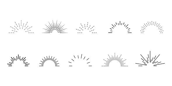 Sunburst setб, big collection sunburst, vintage style elements for graphic and website design, vector light rays elementsstar, firework explosion, logo, emblem, tag web banner.