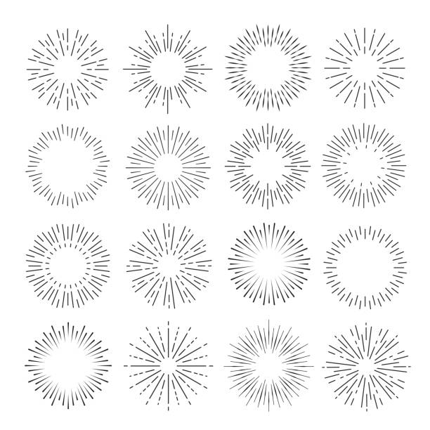 Sunburst set, flash of sunlight line art vector art illustration