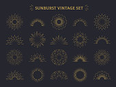 Sunburst set. Hand drawn sunrise firework sunset blast sunbeam burst sunshine ray decorative retro vintage vector line radial elements