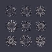 Sunburst set white style isolated on background for logotype, emblem, logo, tag. Firework explosion, star. Vector stock illustration