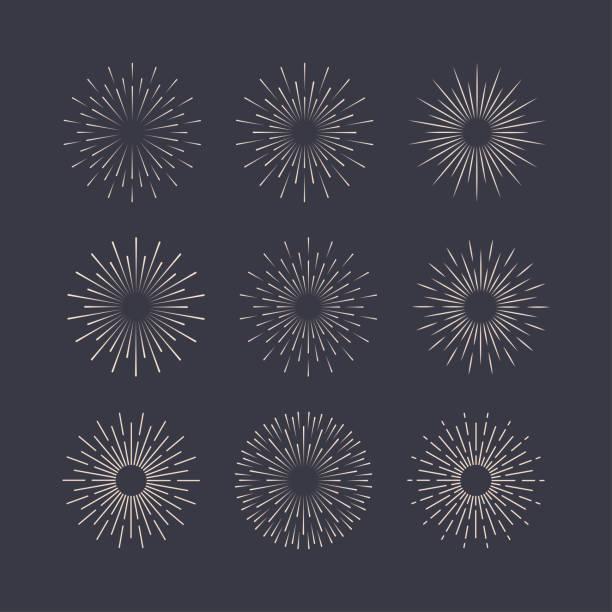bildbanksillustrationer, clip art samt tecknat material och ikoner med sunburst set vit stil isolerad på bakgrunden för logotyp, emblem, logotyp, tagg. fyrverkeri explosion, stjärna. vektorlager illustration. - hand tänder ett ljus