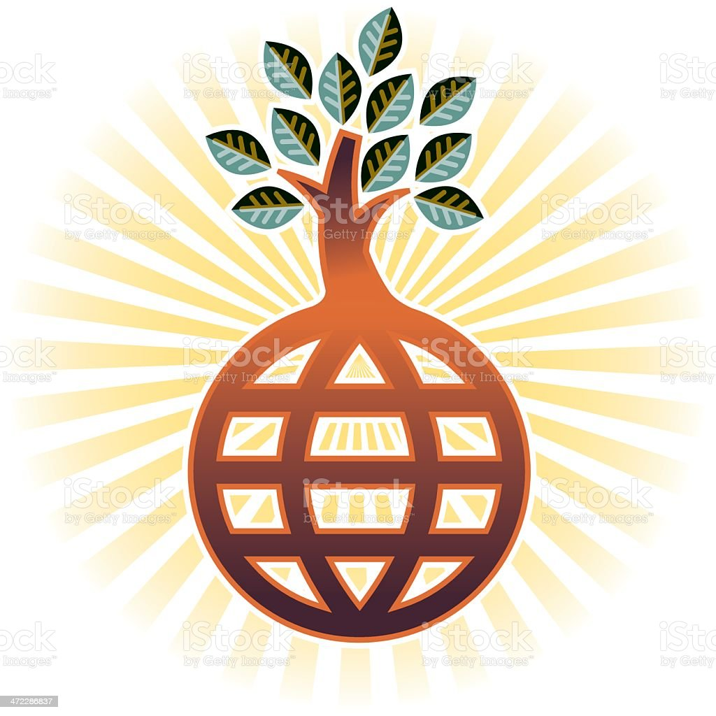 Sunburst tree vector art illustration