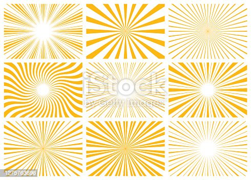 Set of abstract sunburst pattern. Vector rectangular backgrounds