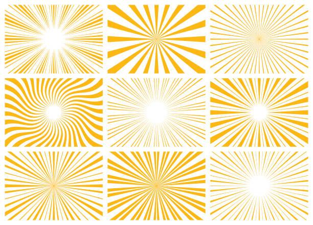 Sunburst Set of abstract sunburst pattern. Vector rectangular backgrounds blurred motion stock illustrations