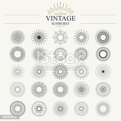 Light ray. Vintage sunburst collection with geometric shape.