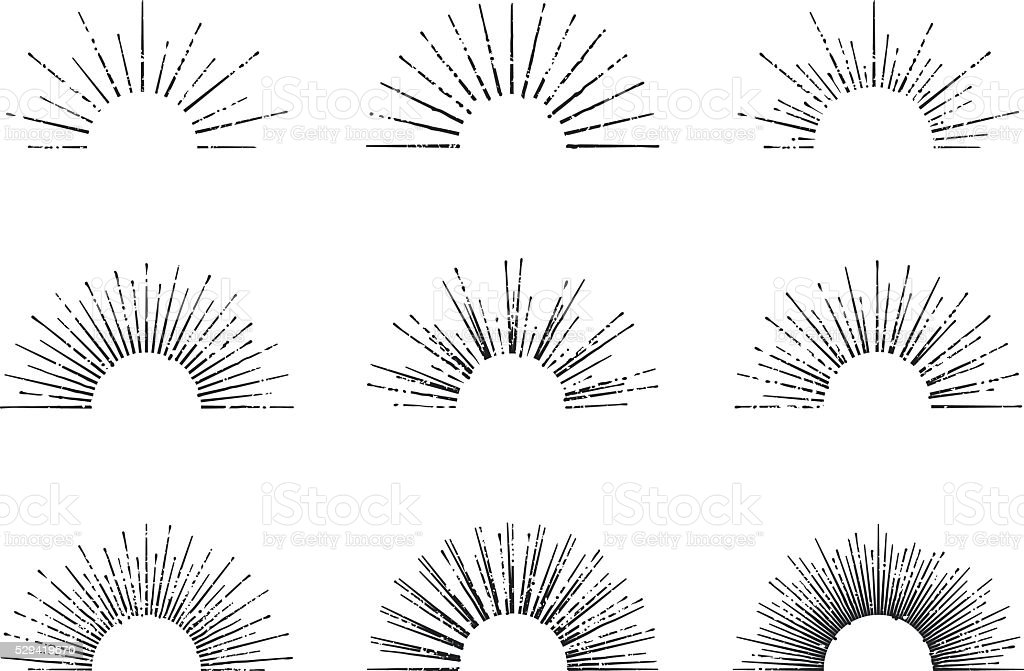 Sunburst Vector Set vector art illustration