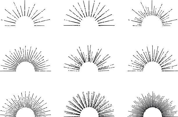 sunburst vector set - sunrise stock illustrations, clip art, cartoons, & icons