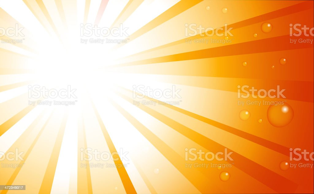 Sunburst with water drops royalty-free stock vector art