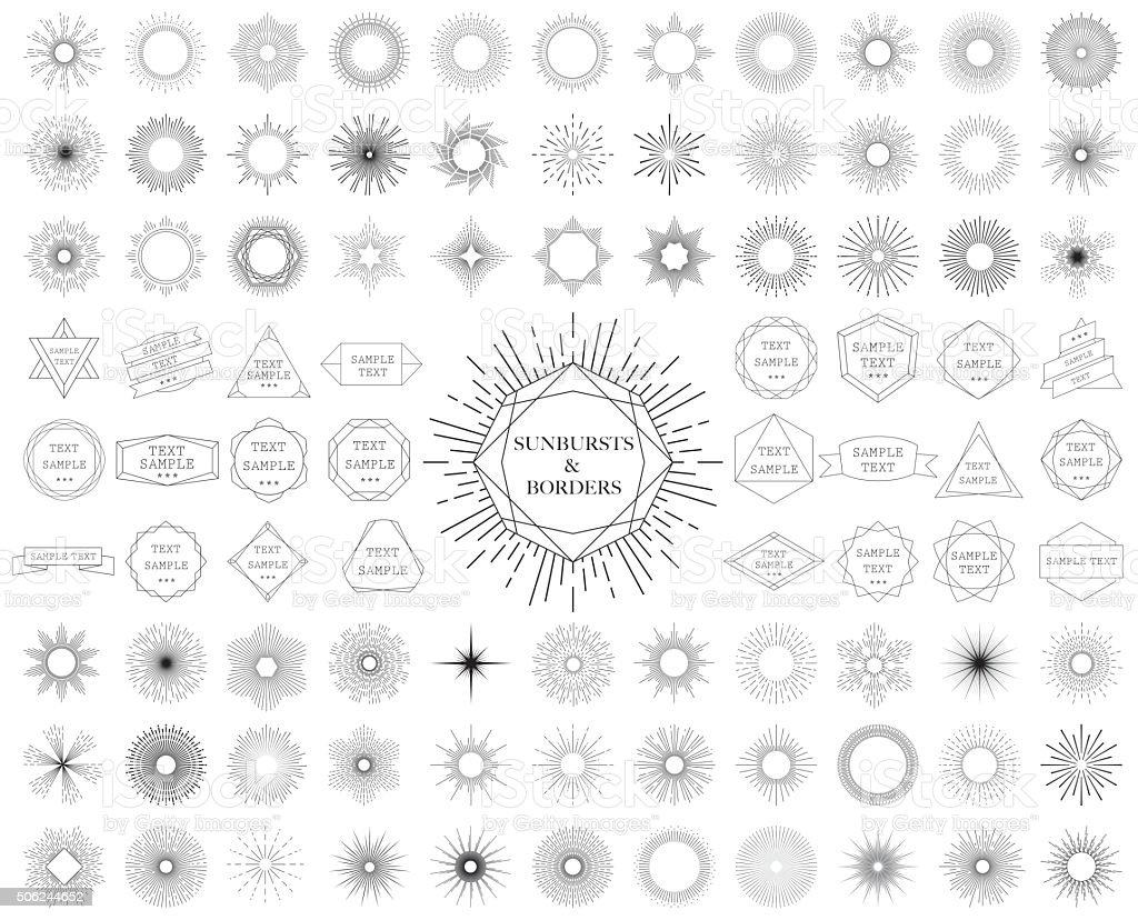 Sunbursts and borders collection. Vector illustration. royalty-free stock vector art