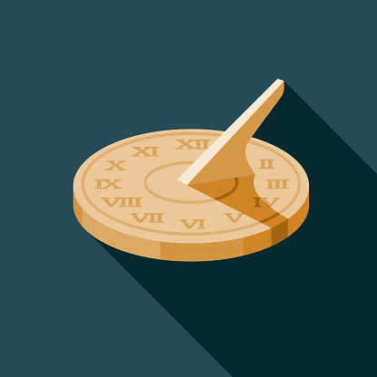 A flat design timepiece icon with long side shadow. File is built in the CMYK color space for optimal printing. Color swatches are global so it's easy to change colors across the document.