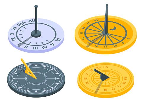 Sundial icons set. Isometric set of sundial vector icons for web design isolated on white background