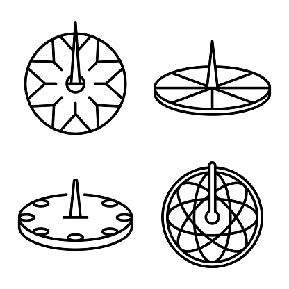 Sundial icons set. Outline set of sundial vector icons for web design isolated on white background