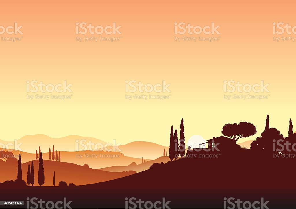 sundown and holiday home vector art illustration