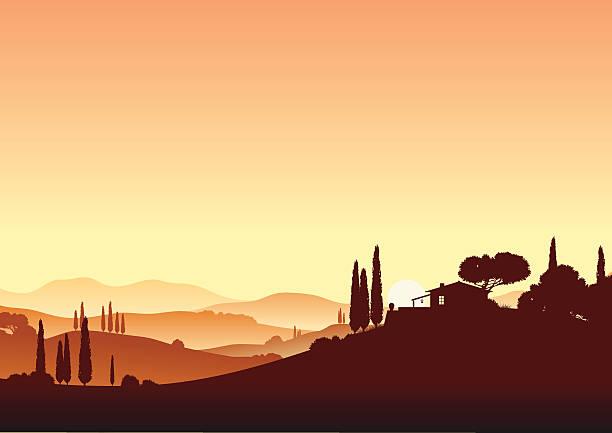 bildbanksillustrationer, clip art samt tecknat material och ikoner med sundown and holiday home - spain solar