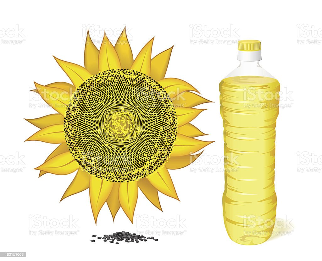 Sunflower, a bottle of sunflower oil and seeds. royalty-free sunflower a bottle of sunflower oil and seeds stock vector art & more images of agriculture