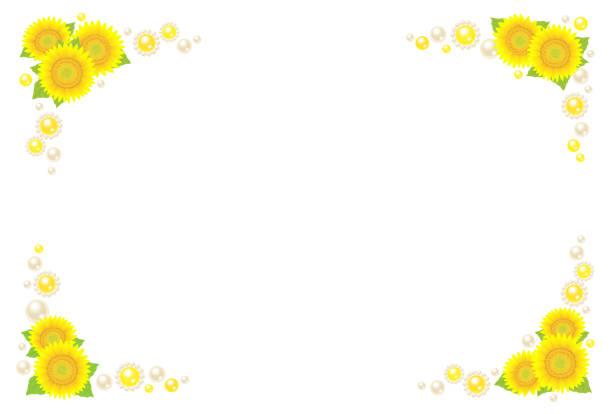 sonnenblumen und perle dekoration. - perlenstrauß stock-grafiken, -clipart, -cartoons und -symbole