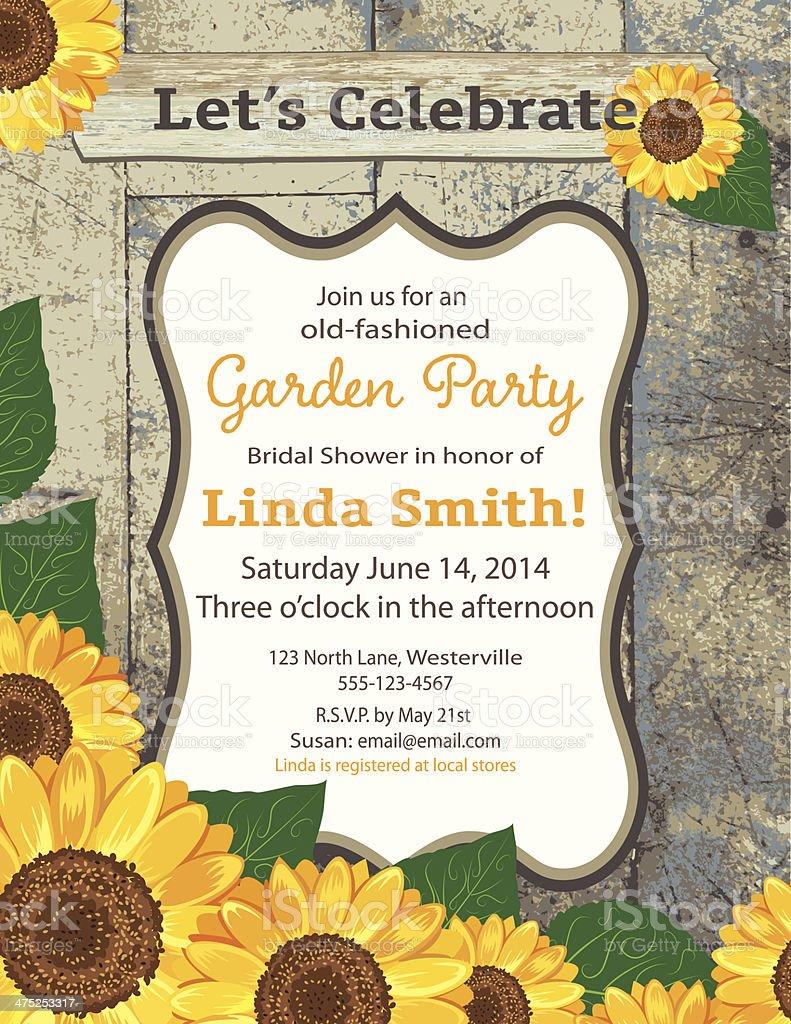 Sonnenblume Brautdusche Einladung Vorlage Vektor Illustration ... - Einladungskarte Sonnenblume