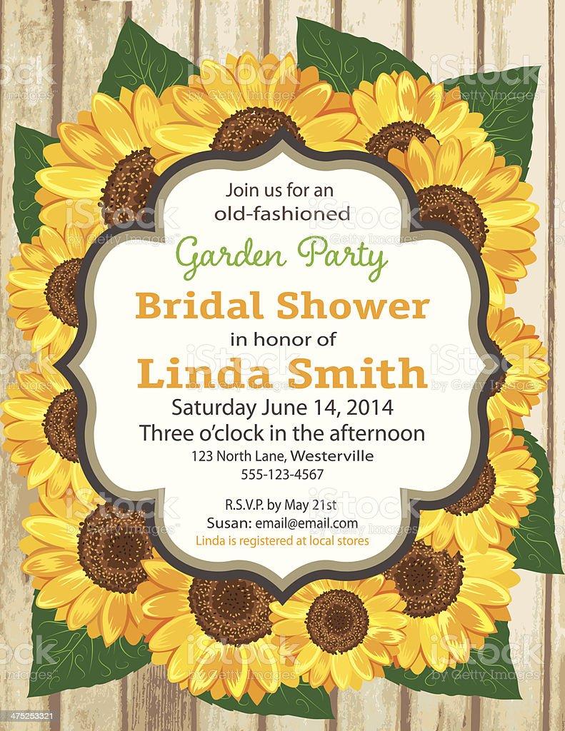 sunflower bridal shower invitation template royalty free sunflower bridal shower invitation template stock vector art
