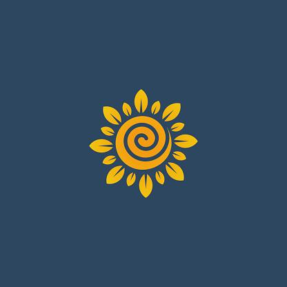 Sunflower design logotype, flower icon vector illustration